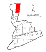 Map of Northumberland County, Pennsylvania highlighting Lewis Township
