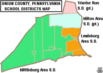 Union County, Pennsylvania - Map of Union County, Pennsylvania Public School Districts
