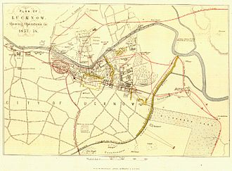 Siege of Lucknow - Contemporary plan of the movements during the siege and relief of Lucknow