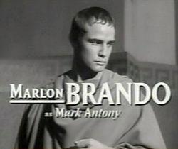Brando as Mark Anthony in a trailer for the film Julius Caesar (1953)