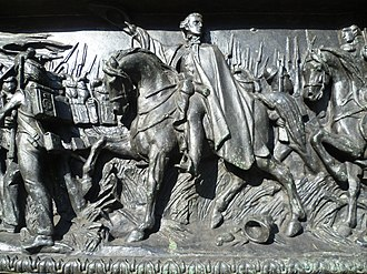 Military career of Arthur Wellesley, 1st Duke of Wellington - Detail of a bronze relief panel, depicting the Battle of Waterloo, beneath Carlo Marochetti's statue of the Duke of Wellington, Glasgow