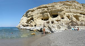 The beach and the caves of Matala, Crete