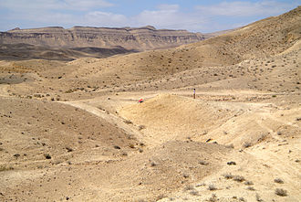 Matmor Formation - Matmor Formation (foreground and middle ground) in Hamakhtesh Hagadol, Israel