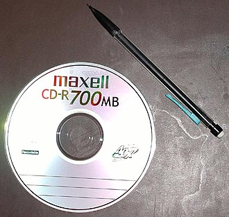 Compact disc - 700 MiB CD-R next to a mechanical pencil