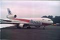 McDonnell Douglas DC-10-10 G-GCAL Novair (stored out of service), Glasgow - Prestwick - UK, August 1990. (5500115876).jpg