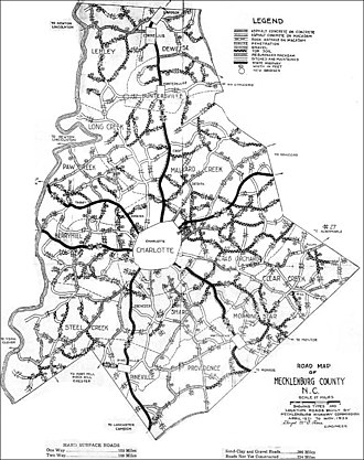 Mecklenburg County, North Carolina - 1923 Map of Mecklenburg County, North Carolina showing original Township boundaries