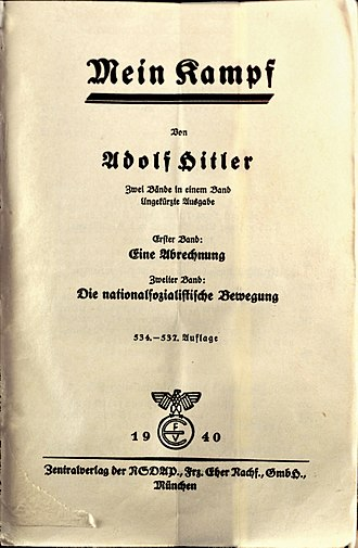 Responsibility for the Holocaust - Frontispiece of the Nuremberg trials 1940 copy of Mein Kampf