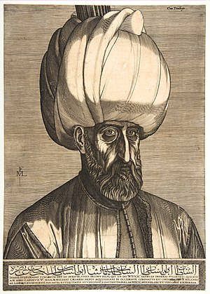 Melchior Lorck -  Sultan Suleiman the Magnificent, allegedly seen by Lorck in Constantinople on February 15, 1559, engraving, 2nd state, 40.7 × 28.9 cm. Copenhagen, Statens Museum for Kunst, Department of Prints and Drawings, inv. no. KKSgb6141