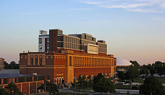 Illinois Fighting Illini - Memorial Stadium with State Farm Center in background
