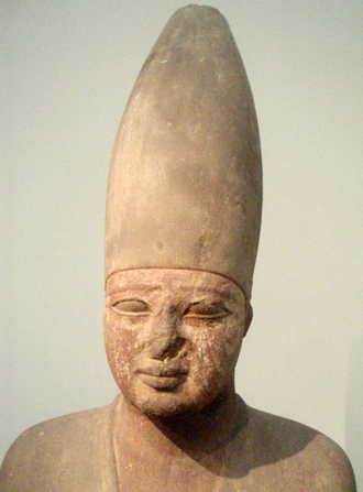 Mentuhotep III - Osiride statue of the 11th dynasty pharaoh Mentuhotep III, on display at the Museum of Fine Arts, Boston.