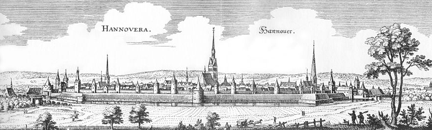 Illustration of Hanover by Matthäus Merian, 1654 Merian Hannover Ostseite.jpg
