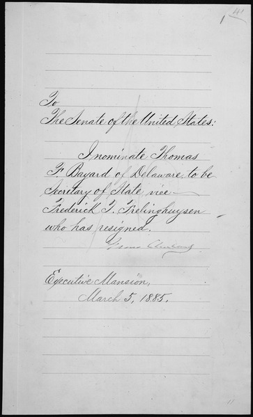 File:Message of President Grover Cleveland nominating Thomas F. Bayard to be Secretary of State, 03-04-1885 - NARA - 306324.tif