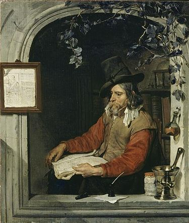 The Apothecary or The Chemist by Gabriel Metsu (c. 1651-67). Metsu, Gabriel - L'Apothicaire - c. 1651-1667.jpg