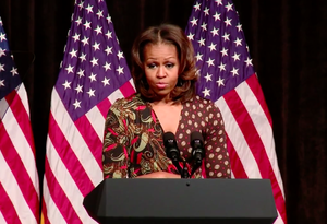Bell Multicultural High School - First Lady Michelle Obama giving a speech on higher education at BMHS in 2016.