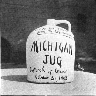 "Little Brown Jug (college football trophy) - Photograph of the ""Michigan Jug"" (which was neither little nor brown) from the 1909 Michiganensian"