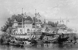 """Hejian - """"A military station near the city of Chokien"""", i.e. probably Hejian. (Ca. 1844)"""