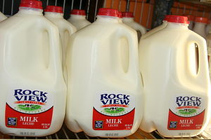 English: Gallon milk jugs – This photo is dedi...