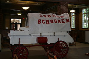 Memorial Union (University of Oklahoma) - A downsized model of the Sooner Schooner sits inside the Will Rogers dining area in the Union.
