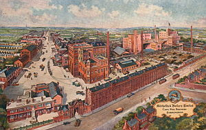 Mitchells & Butlers - The Cape Hill brewery, in Birmingham, on a circa 1925 postcard