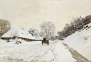 Monet, A Cart on the Snowy Road at Honfleur (1865 or 1867).jpg