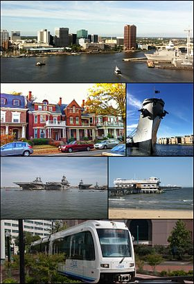 Med uret fra toppen: Downtown Norfolk skyline set fra tværs af Elizabeth River, USS Wisconsin slagskibsmuseum, Ocean View Pier, The Tide light rail, skibe ved Naval Station Norfolk, historiske hjem i Gent