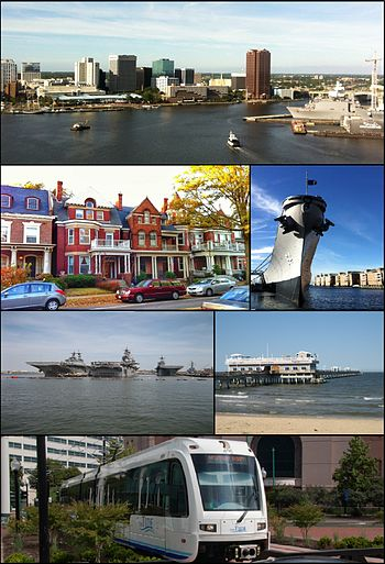 Clockwise frae top: Dountoun Norfolk skyline as viewed frae athort the Elizabeth River, USS Wisconsin battleship museum, Ocean View Pier, The Tide licht rail, ships at Naval Station Norfolk, heestoric homes in Ghent