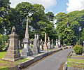 Monuments on north side of footpath at Macclesfield Cemetery.jpg