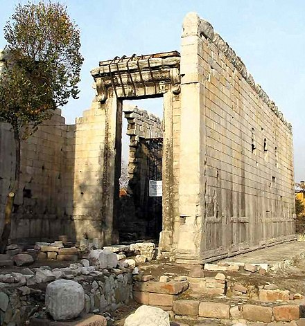 At the Monumentum Ancyranum (Temple of Augustus and Rome) in Ulus, the primary intact copy of Res Gestae written by the first Roman emperor Augustus survives. MonumentumAncyranum28Nov2004.jpg