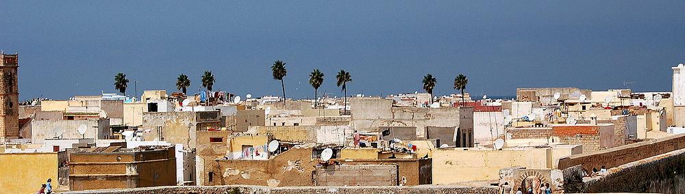 תצלום פנורמי של העיר העתיקה בקזבלנקה (לצפייה הזיזו עם העכבר את סרגל הגלילה בתחתית התמונה)