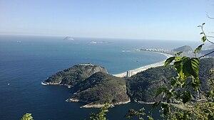 Morro da Babilônia - In the middle, Morro da Babilônia. At the back, Leme and Copacabana beaches.