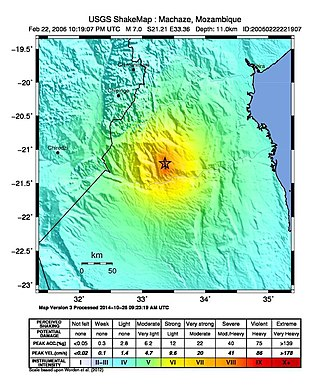 2006 Mozambique earthquake - USGS Shakemap for the earthquake