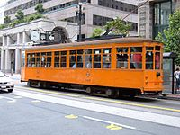 Muni Milan tram 1807 on Market St.JPG