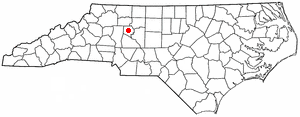 Mocksville, North Carolina - Image: NC Map doton Mocksville