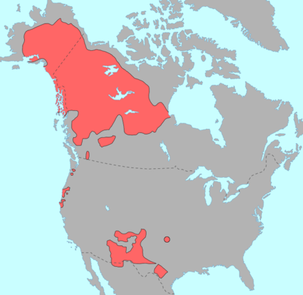 """Map of North America showing in red the pre-contact distribution of Na-Dene languages"""