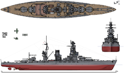 Drawing of the Nagato after the renovation