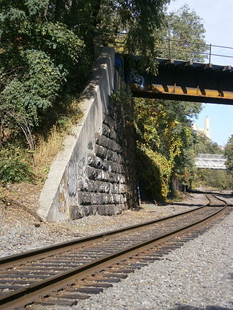 Passaic and Harsimus Line - Image: National Docks Secondary crossing under Passaic&Harrsimus Line at end of Bergen Hill Cut