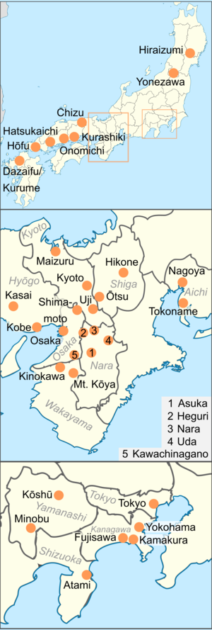 Most of the National Treasures are found in the Kansai and Tokyo area, although some are in cities in south-western Honshū, north Honshū and Kyushu.