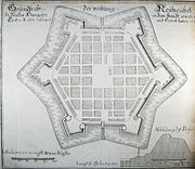 Ideal fortified city: 1663 plan of Neuhäusel, Lower Hungary (Nové Zámky, Slovakia), drawn c. 1680