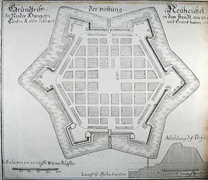 "Nové Zámky - ca. 1680 plan of the ""Neuhäusel Ideal Fortified City"", as Nové Zámky was then designated under the Habsburgs."