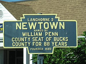 Newtown, Bucks County, Pennsylvania - Image: Newtown, PA Keystone Marker
