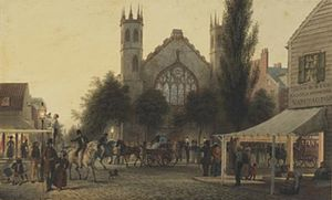 Saint Thomas Church (Manhattan) - A painting by George Harvey (1801-1878) entitled Nightfall, St. Thomas Church, Broadway, New York (c. 1837) currently in the collection of the Museum of the City of New York, shows the first Saint Thomas Church on the corner of Broadway and Houston Street
