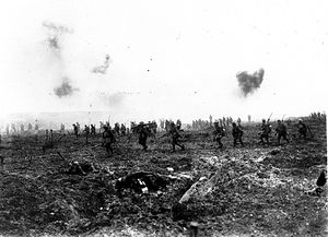 29th Battalion, (Vancouver), CEF - The 29th Battalion, Canadian Corps, 9 April 1917. Troops advance into no man's land at the Battle of Vimy Ridge.