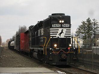 Long hood - A Norfolk Southern GP38-2 operating long hood forward through Ridgewood, New Jersey.
