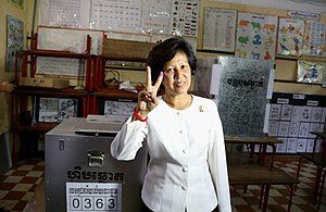 Cambodian general election, 2013 - Princess Norodom Arunrasmy poses for a photo after casting her vote.