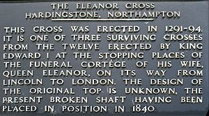 Hardingstone - Plaque recording the history of the Northampton Cross