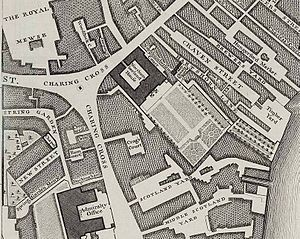 Craven Street - Craven Street (top right) on John Rocque's map of London, 1746.
