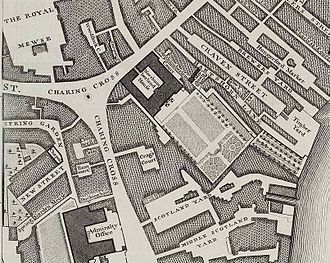 Charing Cross - An extract from John Rocque's Map of London, 1746, showing Northumberland House. The two projecting garden wings had not yet been added.
