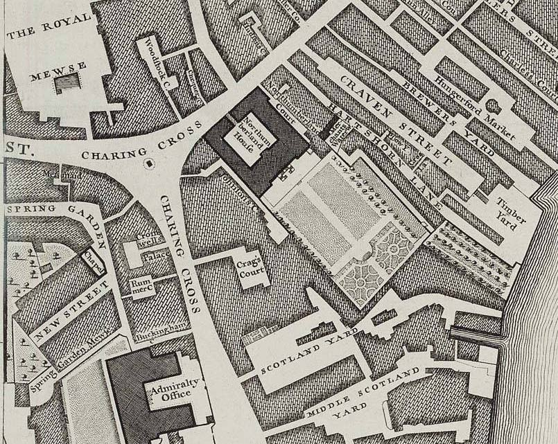 Northumberland House on John Rocque's 1746 map of London edited