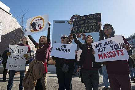 Protest against the name of the Washington Redskins in Minneapolis, November 2014 NotYourMascot2.jpg