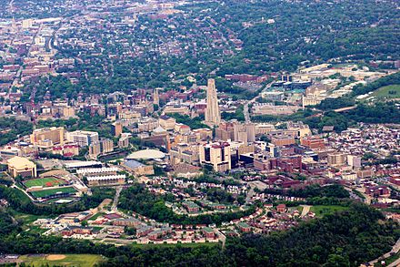 Aerial view of the university and Oakland neighborhood; Carnegie Mellon University is at top-right Oakland (Pittsburgh) from the air.jpg